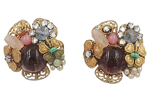 Late 1940s Miriam Haskell Earrings
