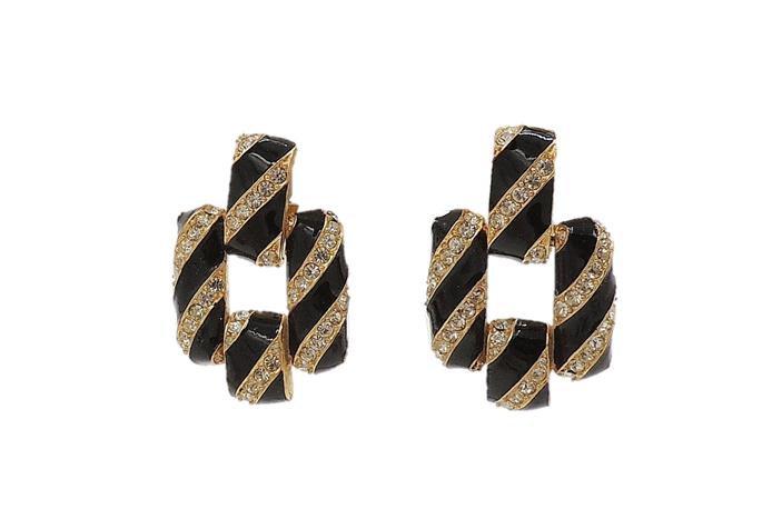 1980s Ciner Black Enamel & Rhinestone Earrings