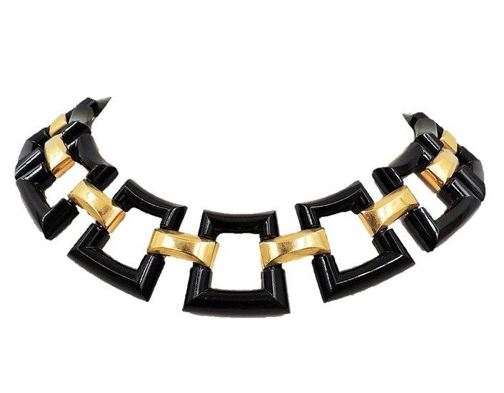 1950s Trifari Black Resin Link Necklace