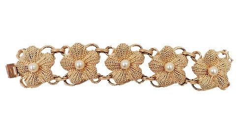 1950s Napier Goldtone Faux-Pearl Flower Link Bracelet