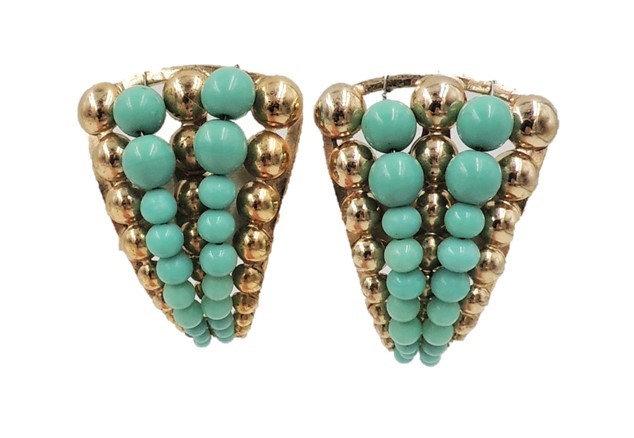 1950s Napier Faux-Turquoise Beaded Earrings
