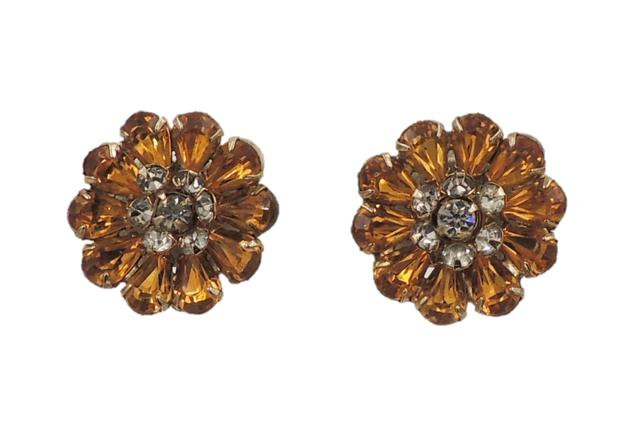 1950s Kramer Faux-Topaz Rhinestone Earrings