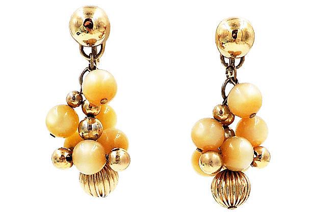 1950s Napier Tan Moonglow Earrings