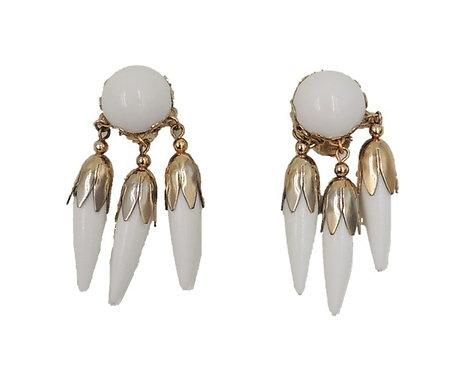 1950s Napier Goldtone & White Resin Drops Earrings