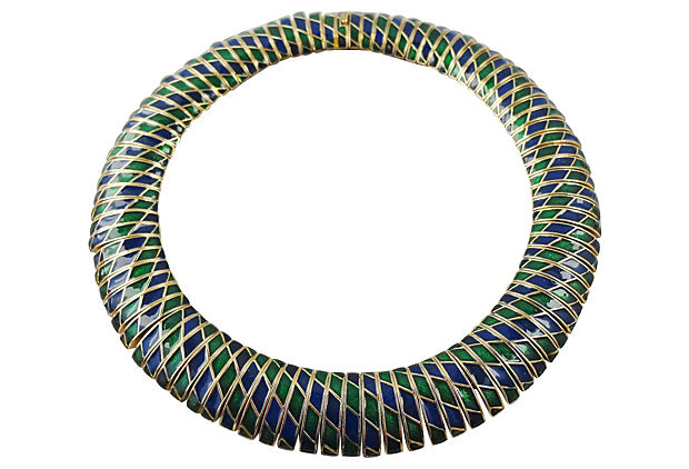 1950s Ciner Enamel Collar Necklace