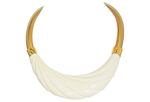 1980s Monet Molded White Lucite Collar Necklace