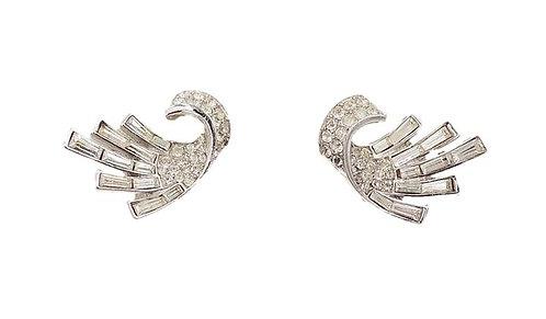 Early 1950s Trifari Rhodium Plated Baguette Rhinestone Earrings