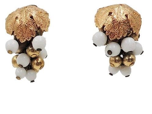 1950s Napier Goldtone & White Resin Grape Cluster Clip Back Earrings