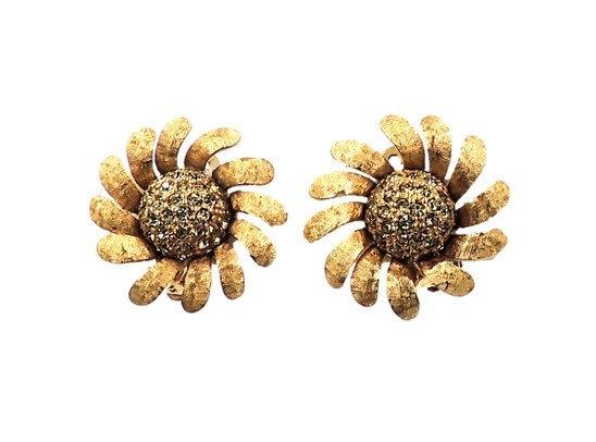 1960s Jomaz Pavé Faux-Citrine Sunflower Earrings