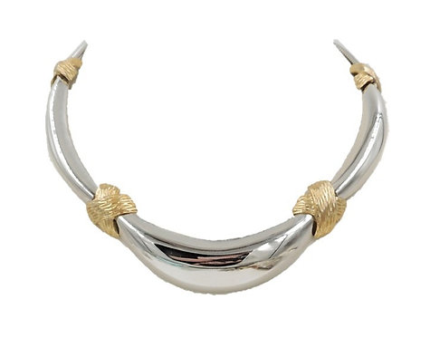 1970s Napier Rhodium Plated Goldtone Knots Collar Necklace