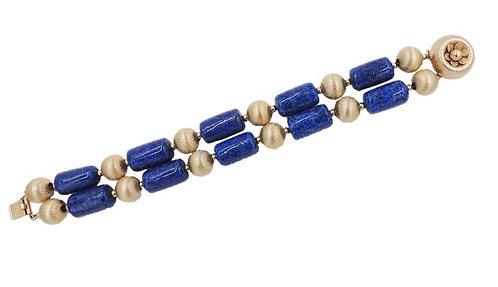 Early 1950s Napier Goldtone Faux-Lapis Beaded Bracelet