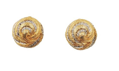1950s Nettie Rosenstein Goldtone Rhinestone Swirl Earrings