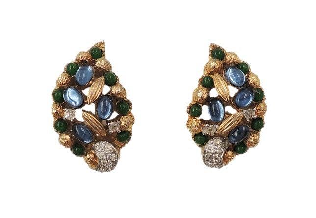 1960s Jomaz Cabochon Faux-Sapphire & Emerald & Clear Rhinestone Earrings