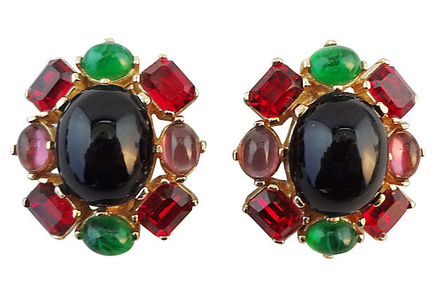 1980s Ciner Cabochon Earrings