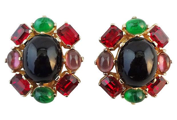 1980s Ciner Cabochon Earrings