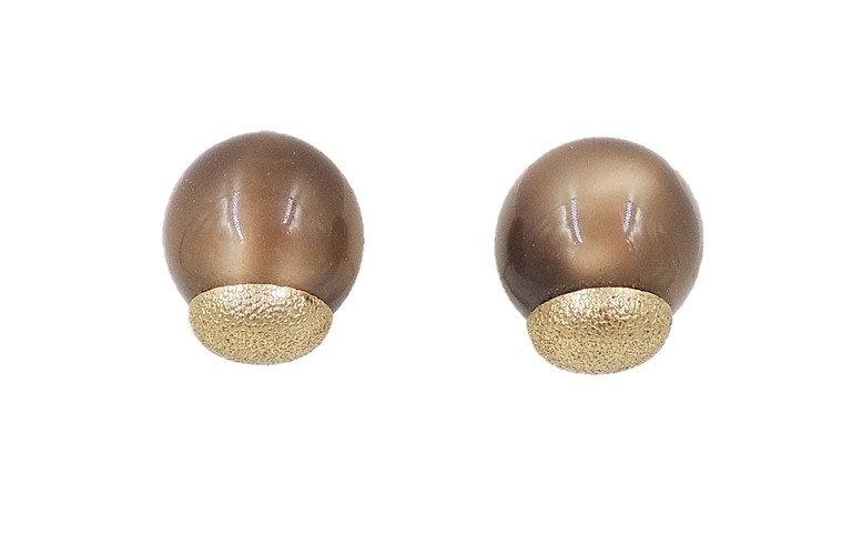 1950s Napier Brown Moonglow Textured Earrings