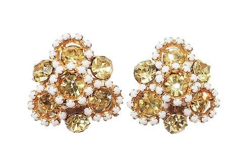 Hattie Carnegie Faux-Citrine & Cabochon White Rhinestone Clip Earrings