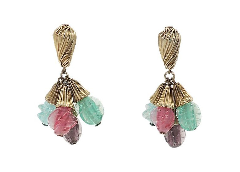 1960s Napier Art Glass Drops Earrings