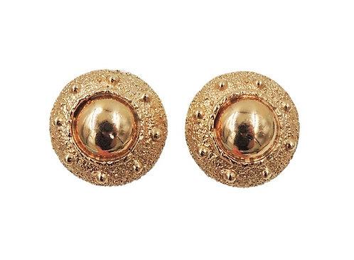 Napier Goldtone Domed Textured Clip Earrings, 1971