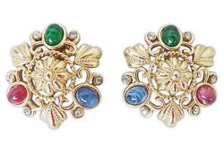 1990s Trifari Cabochon Earrings