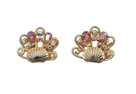 1960s Napier Aurora Borealis Shell Clip Earrings