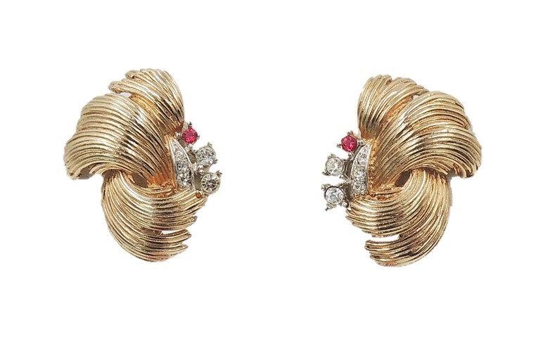 """1960s Boucher Rhinestone """"Feather"""" Earrings"""