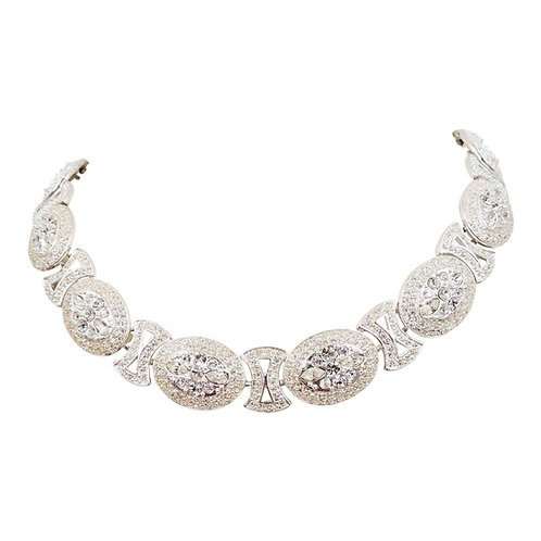 "Napier ""Crystal Ice"" Rhodium Plate Rhinestone Collar Necklace, 1995"