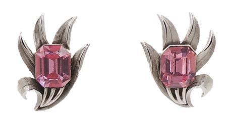 1960s Trifari Faux-Pink Peridot Rhinestone Earrings
