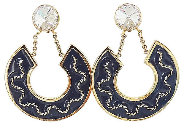 1980s Valentino Rivoli Blue Enamel Earrings