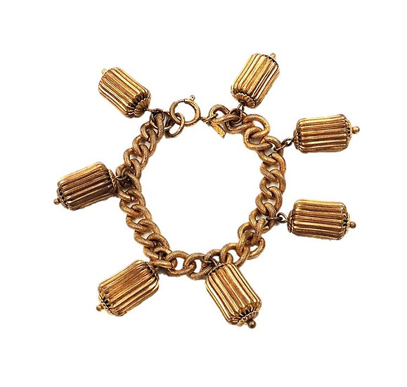 1940s Monet Jewelers Barrel Bead Charm Bracelet