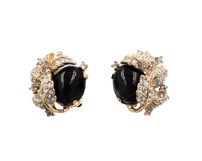 1980s Ciner Cabochon Pavé Rhinestone Leaf Earrings
