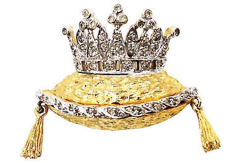 1960s Polcini Crown on Tasseled Pillow Rhinestone Pin