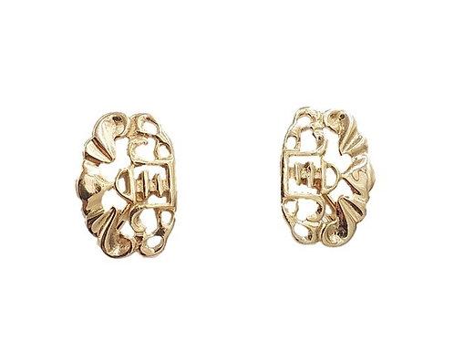 1960s Napier Asian Inspired Goldtone Earrings
