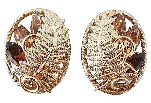1960s Napier Rhinestone Fern Earrings