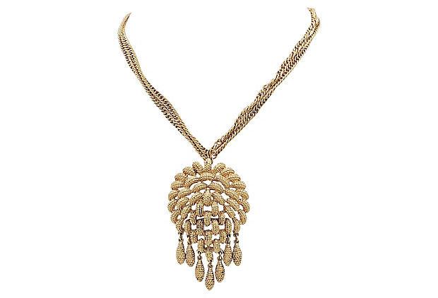 Monet Fringe Pendant Necklace, 1966
