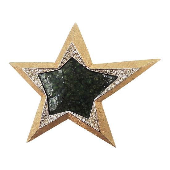 1950s Boucher Goldtone Green Marbled Enamel & Rhinestone Star Brooch