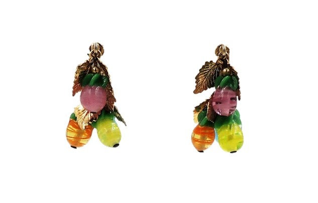 1960s Napier Art Glass Fruit Drops Earrings