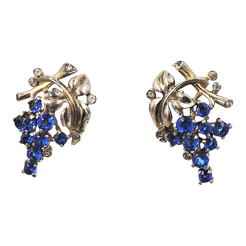 Alfred Philippe for Trifari Goldtone & Faux-Sapphire Grape Cluster Earrings 1942