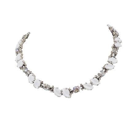 1960s Jomaz Molded White Leaf & Aurora Borealis Necklace