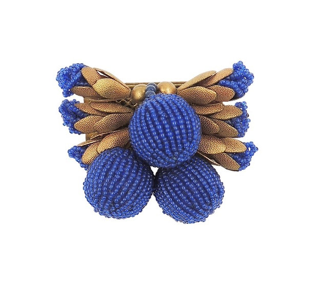 1930s Czech Blue Beaded Brooch