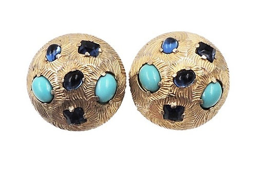 1960s Castlecliff Faux-Sapphire & Turquoise Round Clip Earrings