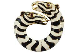1980s Kenneth Jay Lane Zebra Pin