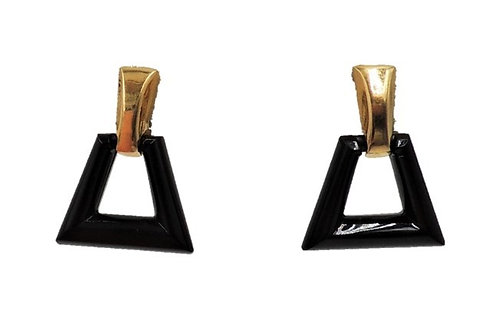 1970s Trifari Goldtone & Black Lucite Hoop Clip Earrings