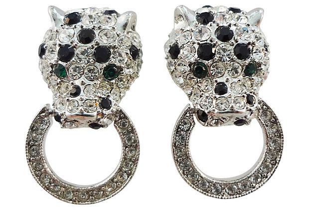 1980s Kenneth Lane Panther Earrings