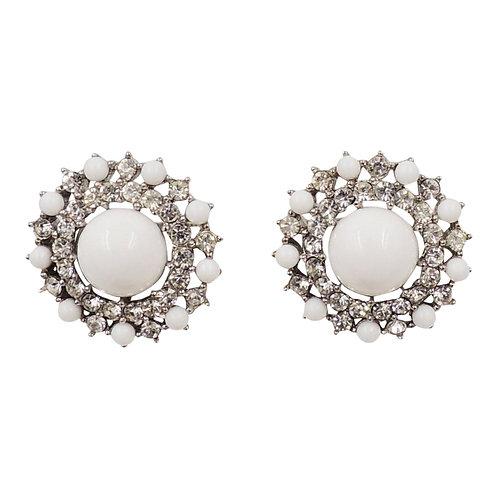 1950s Trifari Rhodium Plated White Cabochon & Clear Rhinestone Earrings