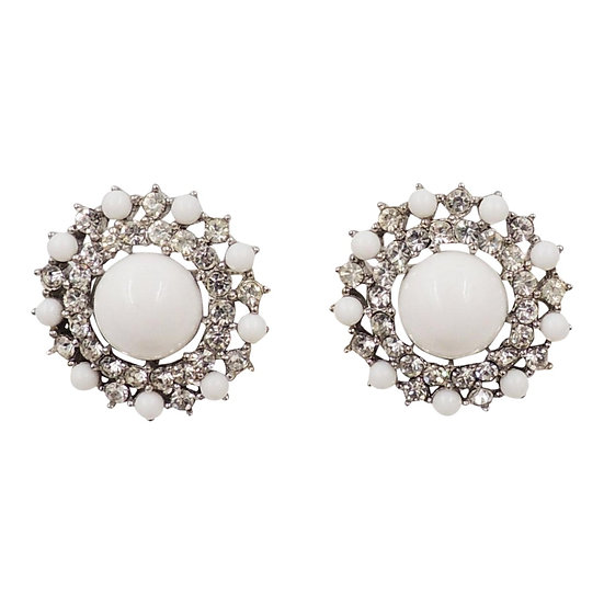 1950s Trifari Rhodium Plated White Cabochon & Clear Rhinestone Earrings