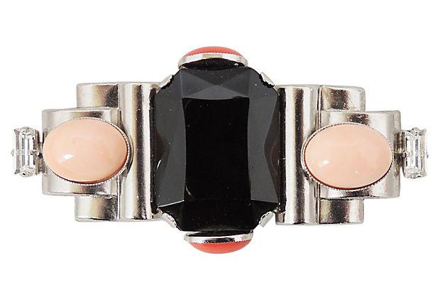 Ferrandis Faux-Onyx & Coral Rhinestone Bar Pin