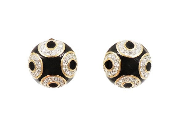 Swarovski Black Enamel & Rhinestone Earrings