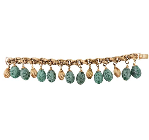 1950s Napier Goldtone Green Frosted Charm Bracelet