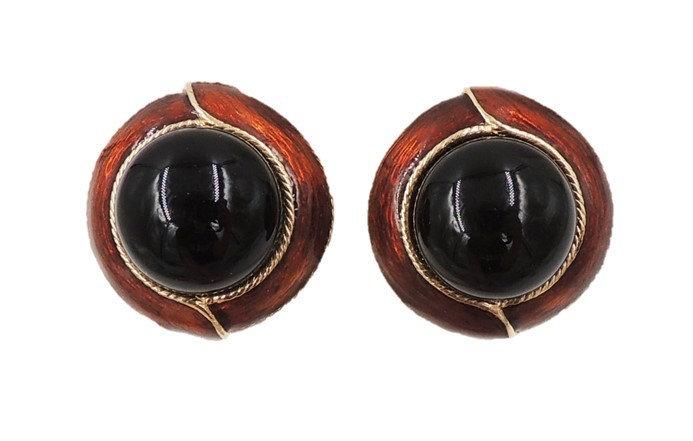 1980s Ciner Cabochon Faux-Onyx & Brown Enamel Earrings
